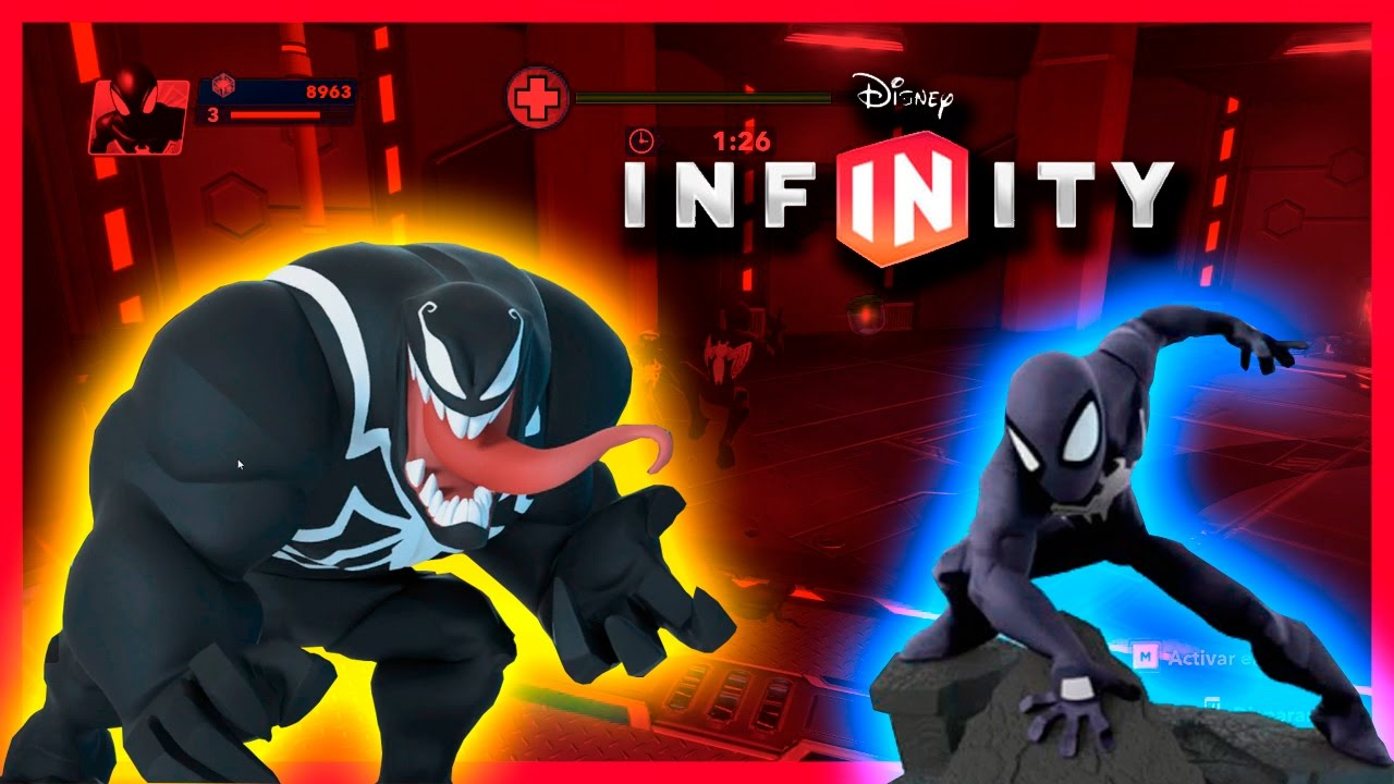 spiderman negro vs venom | disney infinity | videos para niños - youtube
