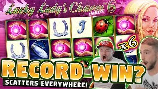 BIGGEST WIN OR FAIL?? 5 SCATTERS RECORD WIN ON LUCKY LADYS CHARM (MUST SEE)