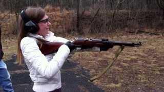 Girl Shooting a Mosin Nagant Rifle - 7.62mm