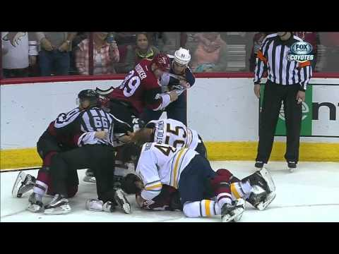 Sabres and Coyotes line brawl after game ends