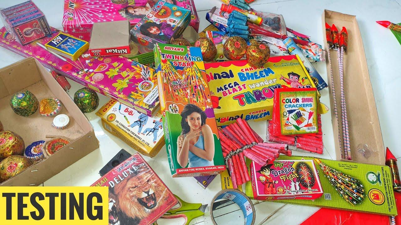 Diffrent types of Crackers testing 2021Diwali stash testing 2021
