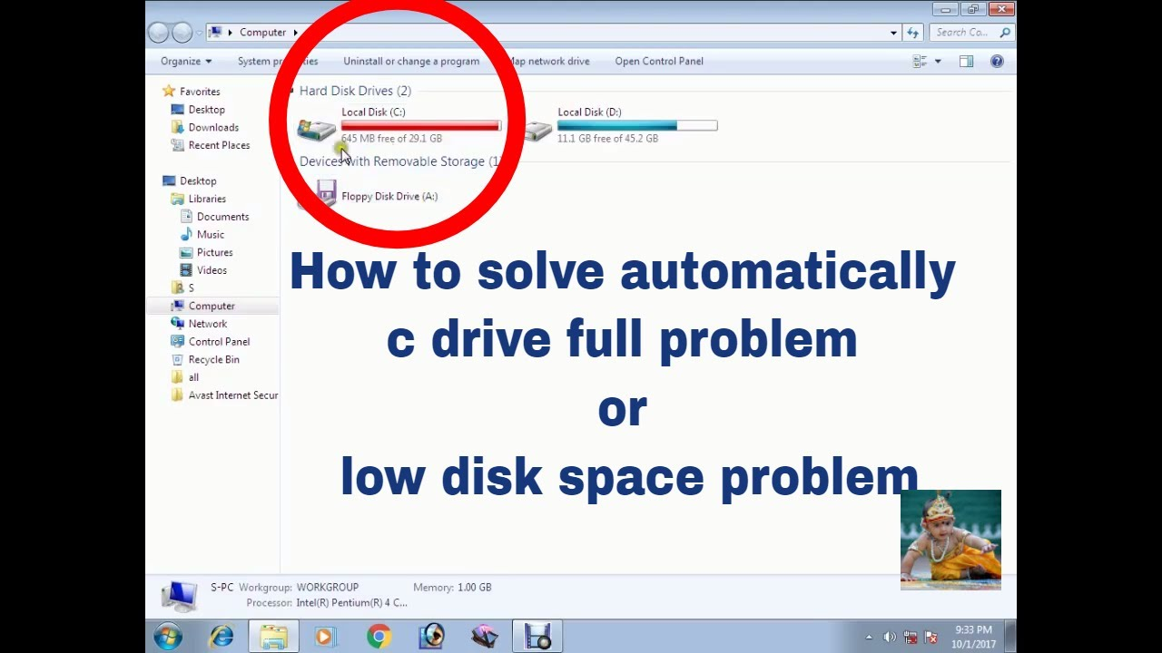 How To Solve Automatically C Drive Full Problem Low Disk E Solved 2017