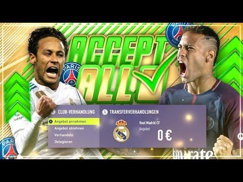 JEDES TRANSFERANGEBOT mit PARIS SAINT GERMAIN AKZEPTIEREN!! 🔥😱💰 -  FIFA 18 PSG Karriere Challenge