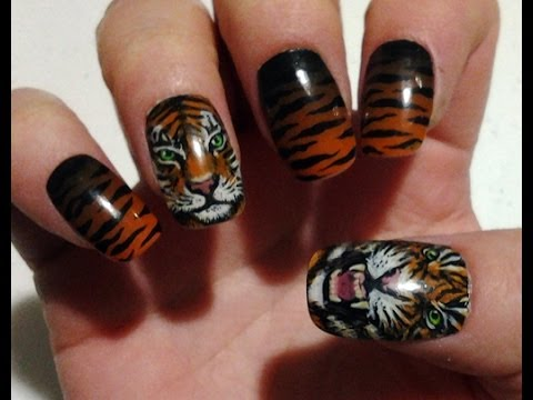 Tiger Nail Art By Zombiekitty Youtube