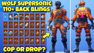 "NEW ""WOLF SUPERSONIC"" SKIN Showcased With 110+ BACK BLINGS! Fortnite Battle Royale (WOLF COMBOS)"