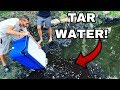 BLACK TAR WATER FISH in NEW POND!!