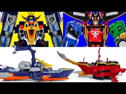 SpaceBattleShip Uranus VS PirateShip Galion PowerRangers SuperMegaForce SpaceDeleter Transformation
