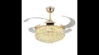 How to assemble & install 4 retractable blades decorative crystal chandelier ceiling fans