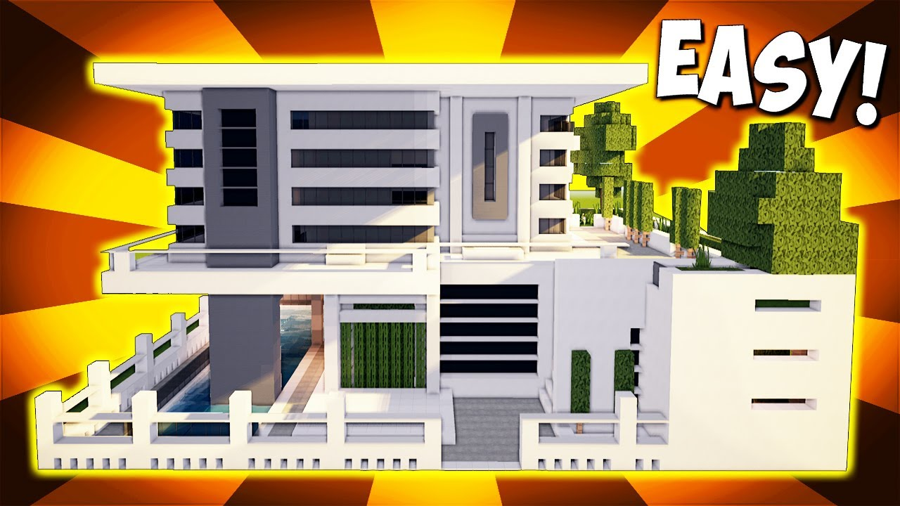 Minecraft big modern house mansion tutorial how to for Big modern house tutorial