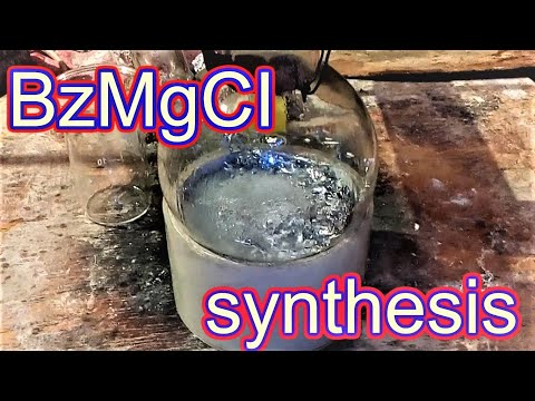 Benzylmagnesium Chloride Synthesis. BzMgCI C6H5CH2MgCl Grignard Reagent