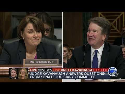 Sen. Klobuchar asks if Kavanaugh has a drinking problem, he queries her back