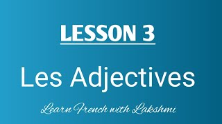 Let's learn French Adjectives