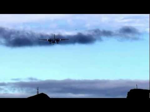 Fokker F50 landing in Nuuk Airport (GOH)