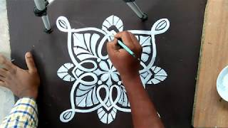 SIMPLE ALPANA /WITH BORDER/RANGOLI WITH BRUSH EFFECTS/CREATIVE ALPONA DESIGNS/EASY KOLAM/ MUGGULU