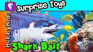 SHARKS in the Water! Fishing for Letters + Surprises GAME HobbyKidsTV.