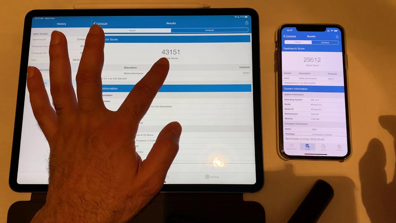 Geekbench Test iPad Pro 12.9 6GB Ram VS iPhone 11 Pro Max ...