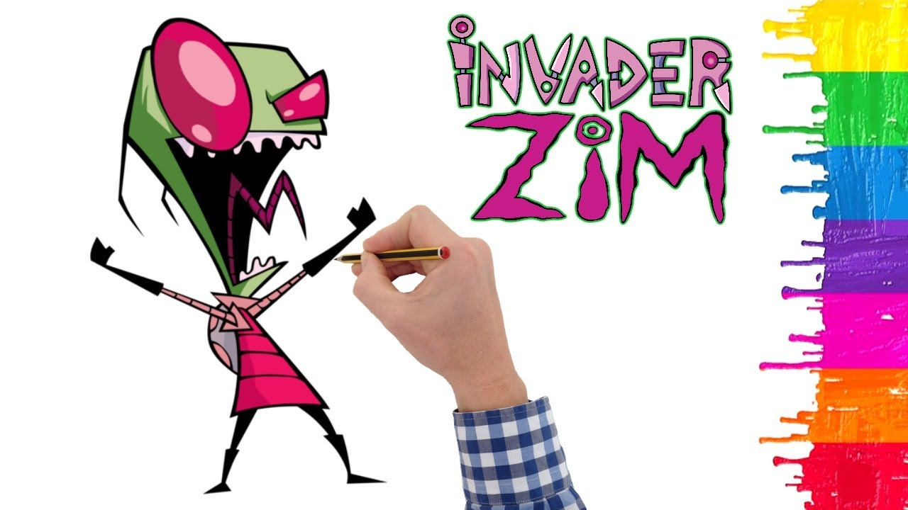How to draw Invader Zim - Drawing Invader Zim - Drawing tutorial