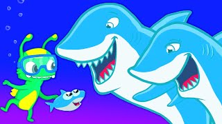 Groovy The Martian meets Baby shark - Sea patrol to the rescue: let's find daddy & mommy shark!