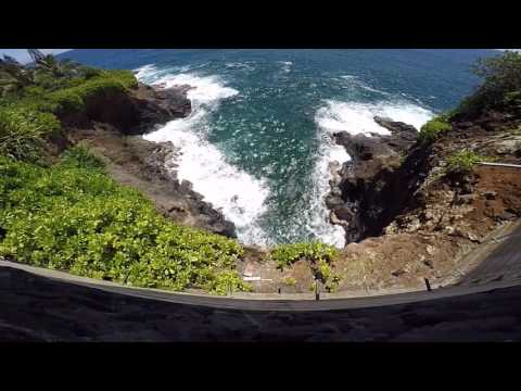 Scenery Around Hawaii Ocean And Home On The Cliff 60 foot drop
