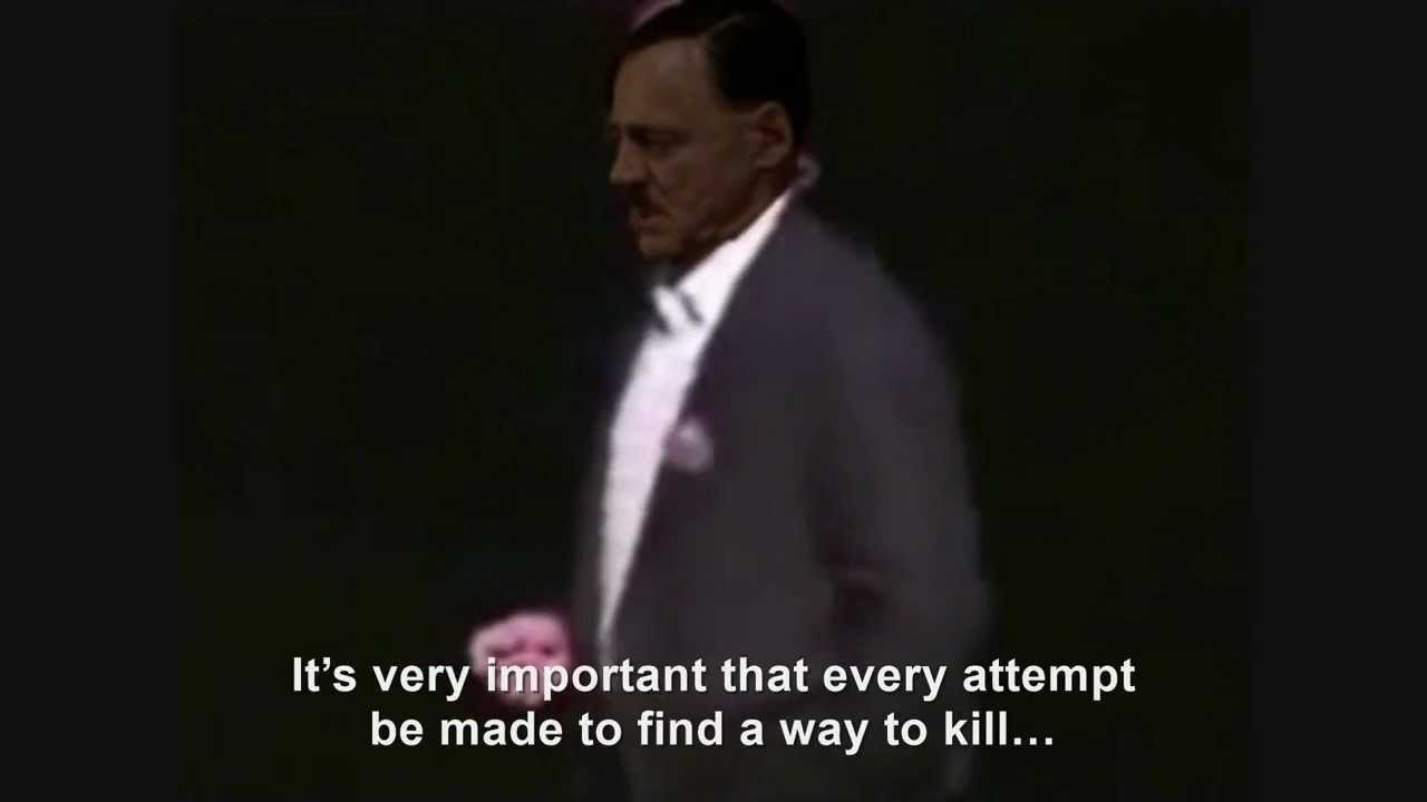 Hitler falls off stage