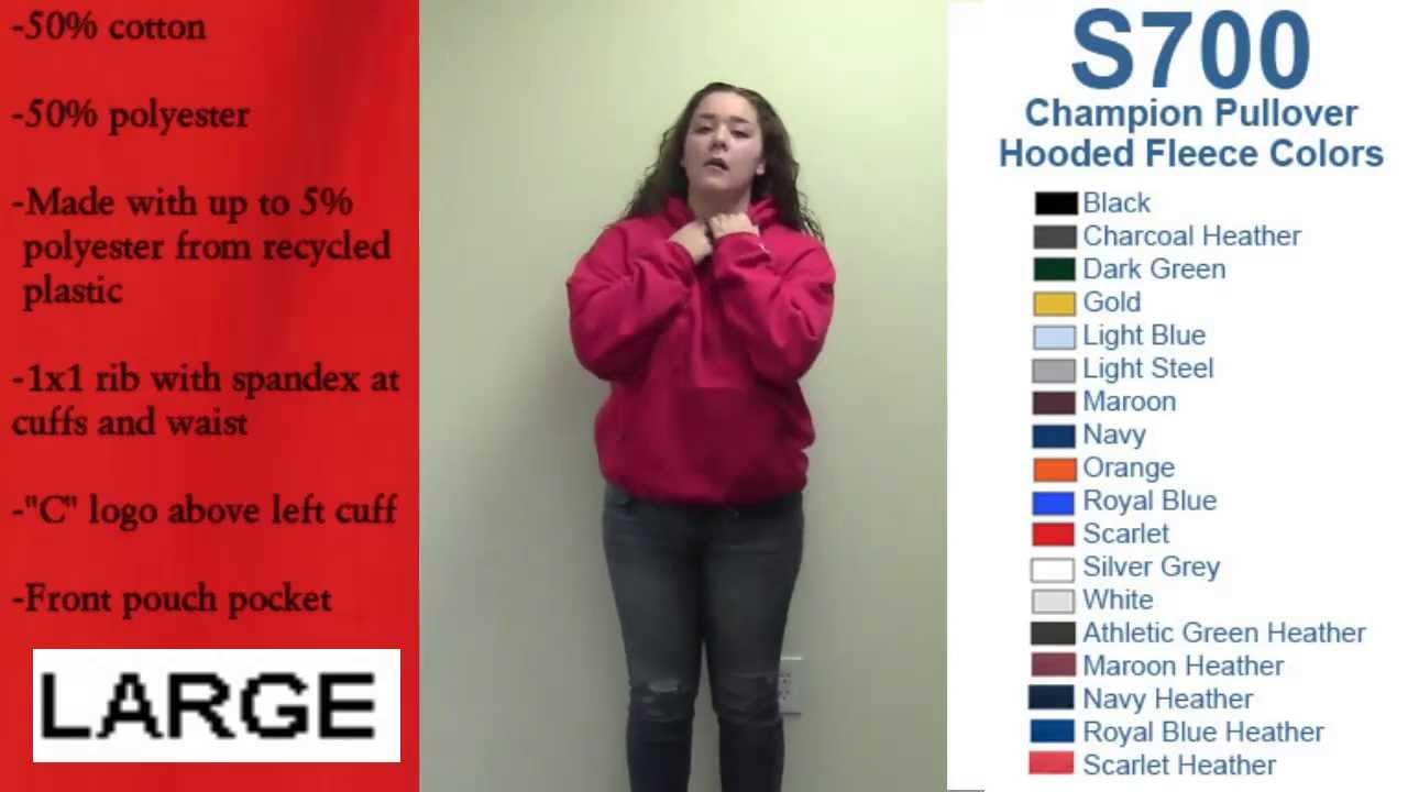 57b3dc383d89 Champion Brand Hooded Sweatshirt Sizing Video - YouTube