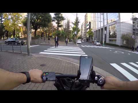 Cycling in Osaka : Blue Cycling lanes @ Hommachi Dori