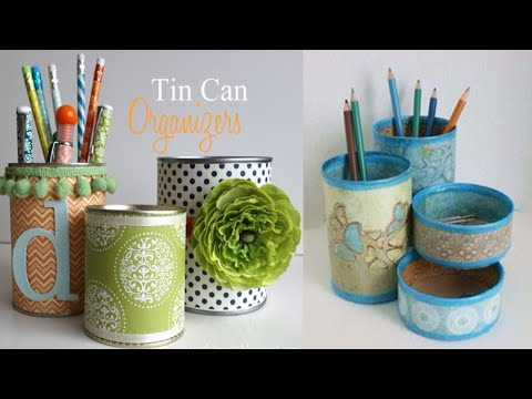 DIY crafts:How to recycle tin cans to make a pencil holder or desk organiser 2018 craft