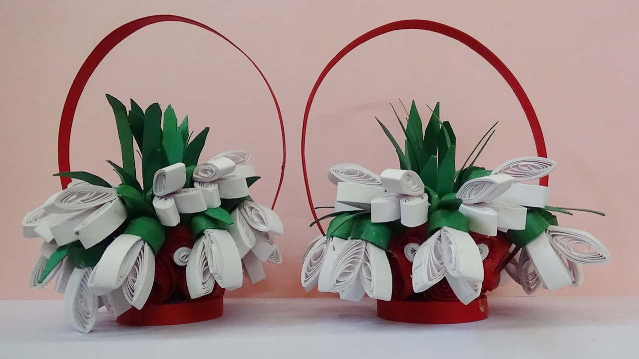 quilling artwork How to make 3D Quilling Flower basket ...
