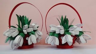 quilling artwork |  How to make 3D Flower  basket