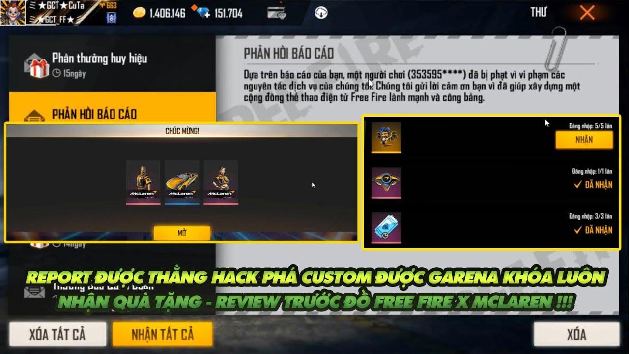 Free Fire| Report thằng hack trong custom được garena khóa thật luôn - Garena tặng quà xịn review