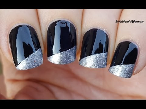 GLITTER SIDE FRENCH MANICURE OVER BLACK NAILS