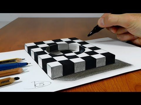 Try to do 3D Trick Art on Paper, Chess hole