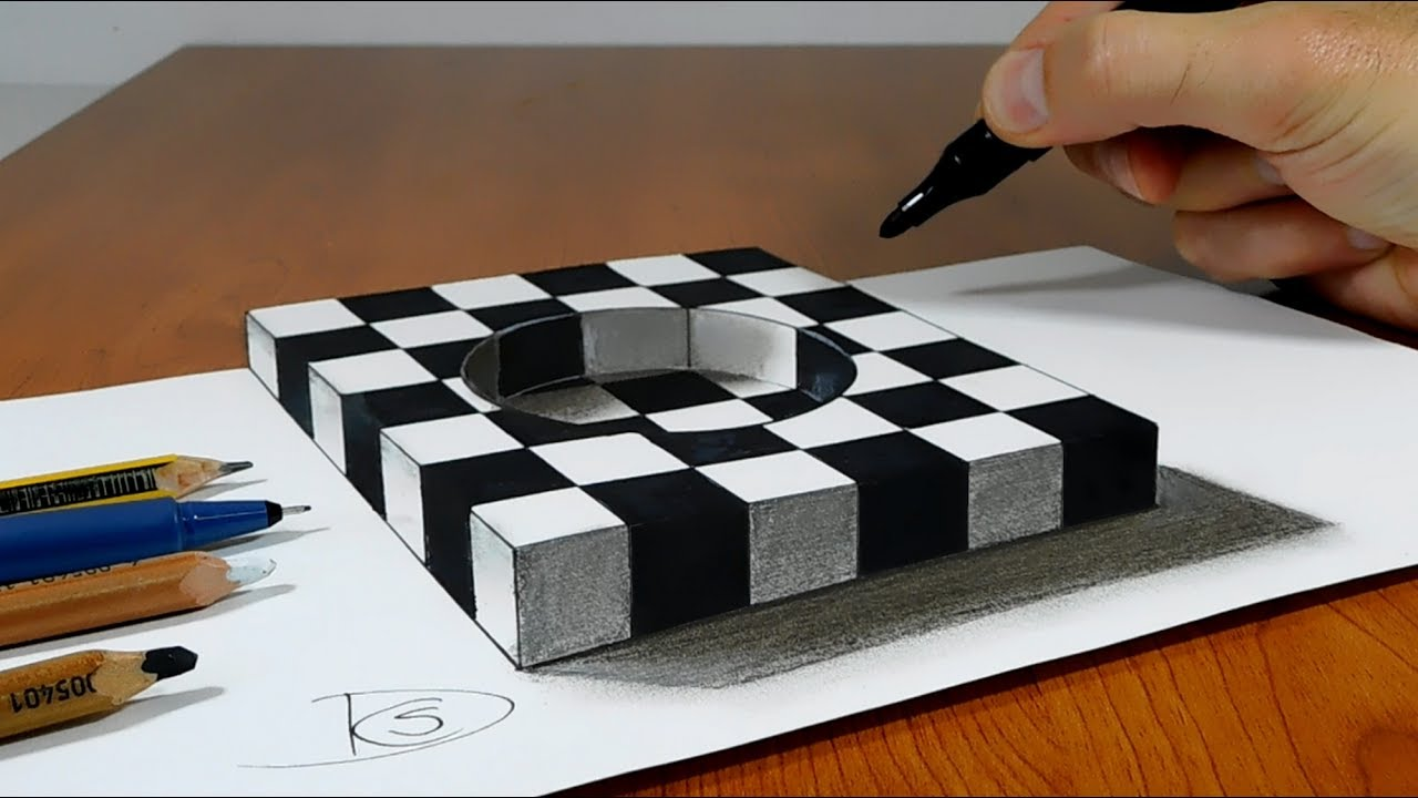 try to do 3d trick art on paper chess hole youtube