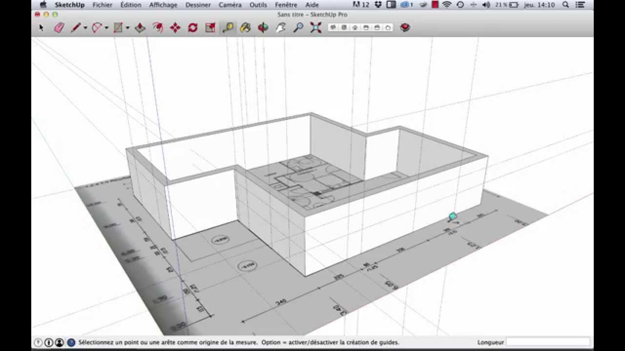 Sketchup mod liser d 39 apr s plan 2d youtube for Sketchup plan maison