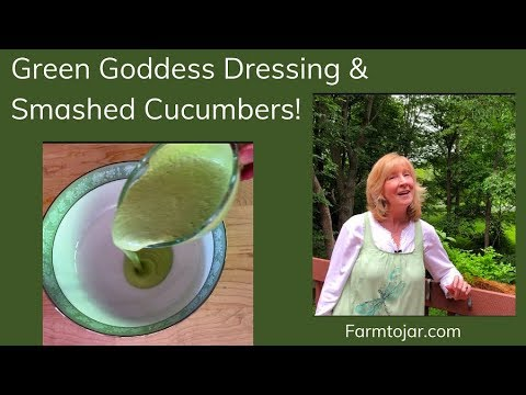 Low Carb Green Goddess Dressing on Smashed Cucumbers
