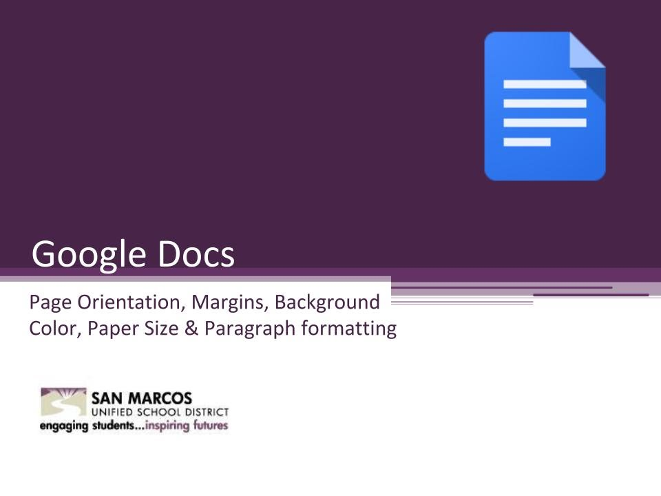 Google docs page orientation youtube for Page color google docs