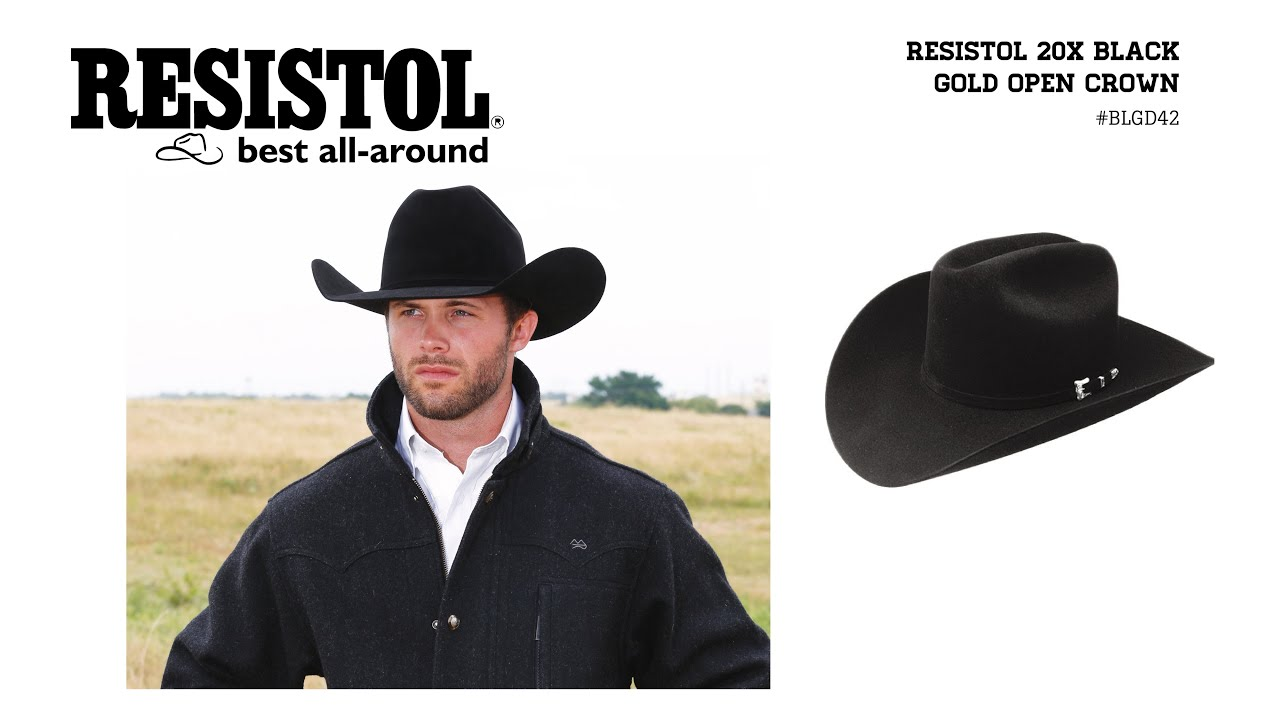 Resistol 20X Black Gold Open Crown Felt Cowboy Hat - YouTube e852c3f333b8
