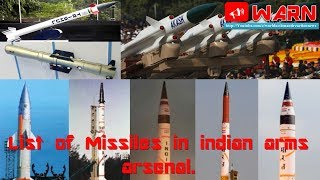 Top Story # List of Missiles in indian arms arsenal.
