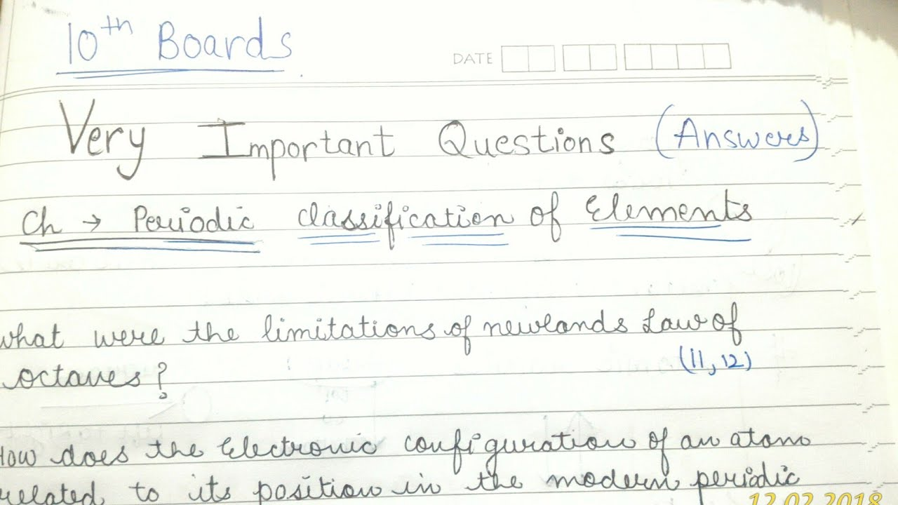 Very imp questionanswers of periodic classification of elements very imp questionanswers of periodic classification of elements urtaz Choice Image