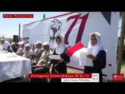 Pengibaran bendera Indonesia  di Jalur Gaza,Palestina