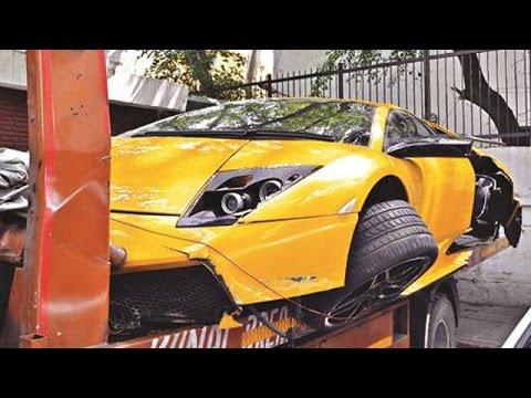 lamborghini murcielago crashed in delhi - youtube