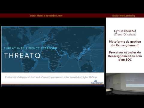 2016-11-08 Plateforme de gestion du Renseignement ThreatQuotient
