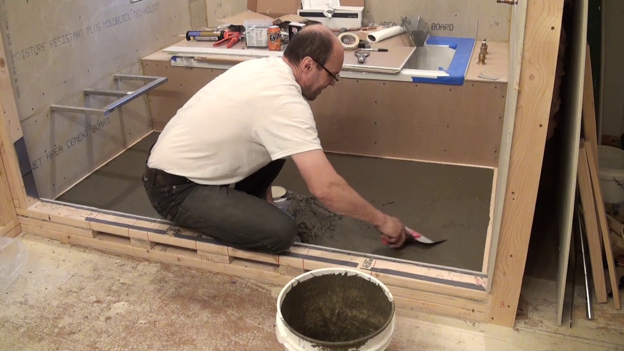 how to mortar shower pan hardiebacker on plywood floor bathroom remodeling part 16 youtube. Black Bedroom Furniture Sets. Home Design Ideas