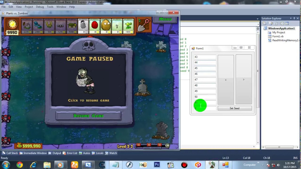 Plants Vs Zombies Seed Editor Tutorial Visual Basic 2010 Youtube