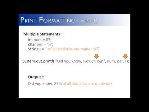 Print Formatting Part 2: printf() Multiple Statements (Java)