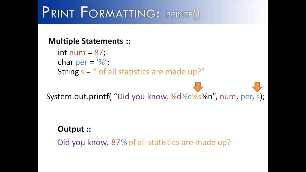 Print formatting part 2 printf multiple statements java youtube print formatting part 2 printf multiple statements java baditri Gallery
