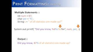 Print Formatting: printf() Multiple Statements Part 2 (Java)
