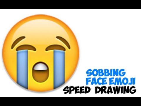 Speed Drawing: Sobbing Emoji or Crying Emoji or Very Sad Emoji ...