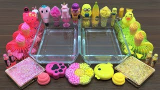 Mixing Makeup and Floam Into Clear Slime ! Pink VS Yellow Special Series Part 7 Satisfying Slime