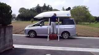 一人でFRP一体型ミニボートを、マツダのビアンテにカートップしています...